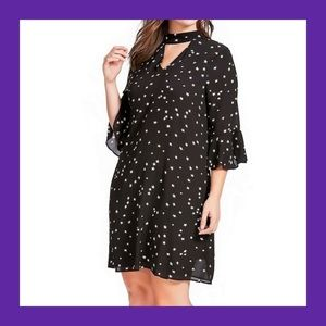 ALICE & YOU Black White Star Print Cutout Dress 24